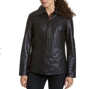 Worthington zip up leather jacket Sz Petite Medium